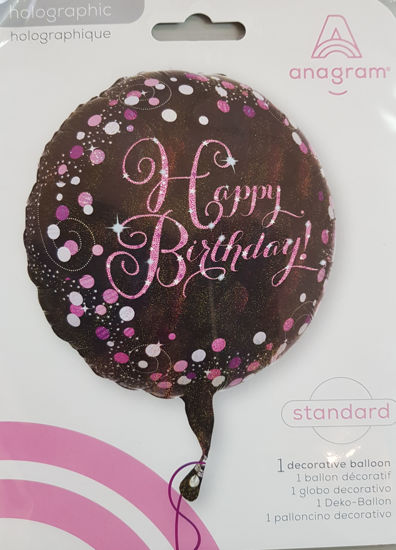 Picture of Birthday Balloons- pink and black