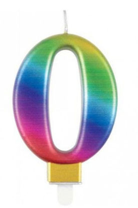 Picture of 0 Birthday rainbow candle