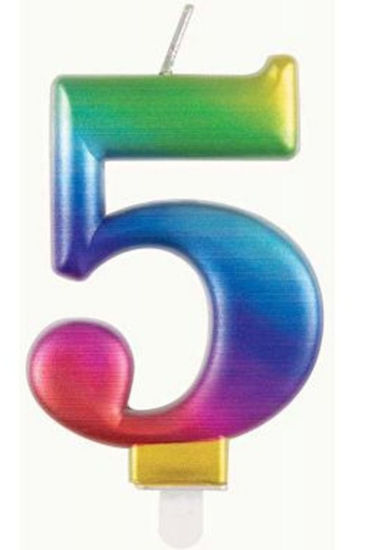 Picture of 5 Birthday rainbow candle