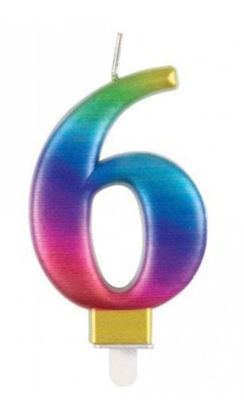 Picture of 6 Birthday rainbow  candle