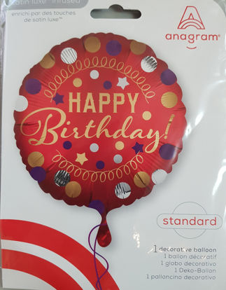 Picture of Birthday Balloons - Red and gold
