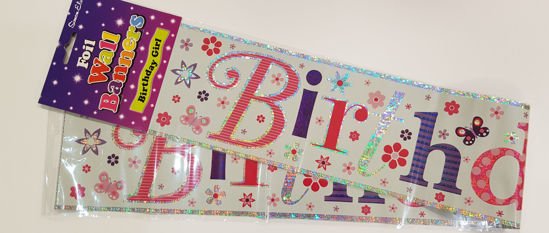 Picture of Birthday banner in pinks and purples.