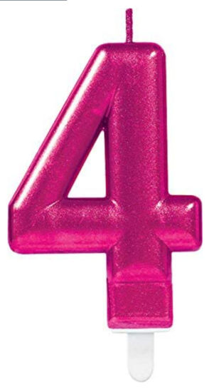 Picture of 4 Birthday pink candle