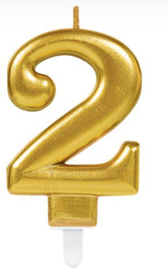 Picture of 2 Birthday gold candle