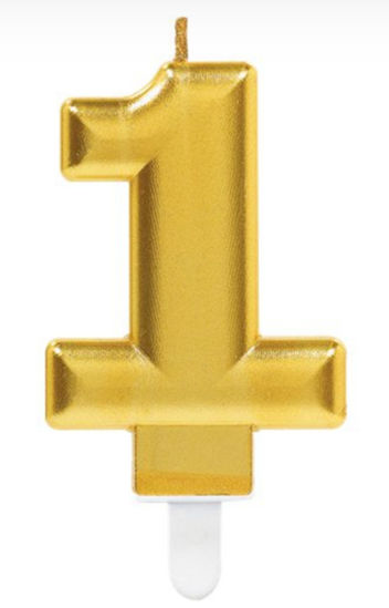 Picture of 1 Birthday gold candle