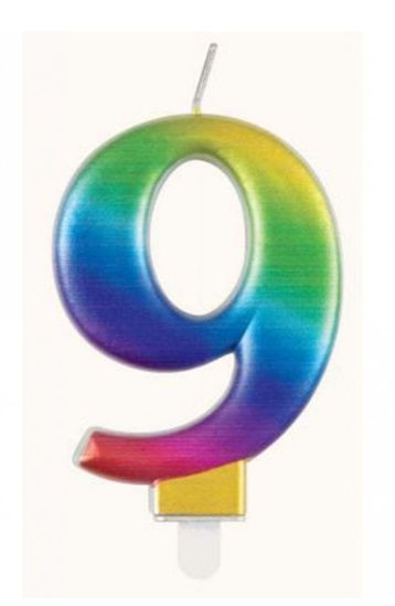 Picture of 9 Birthday rainbow candle