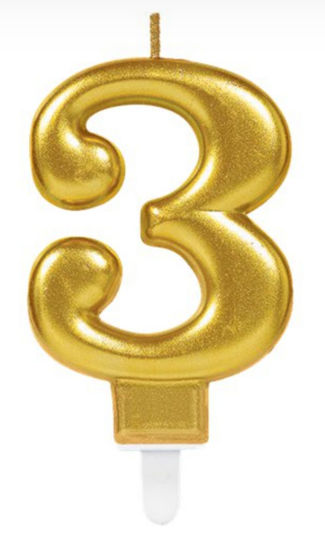 Picture of 3 Birthday gold candle