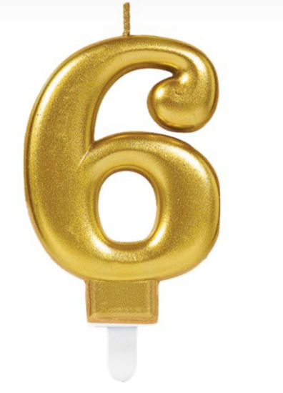Picture of 6 Birthday gold candle