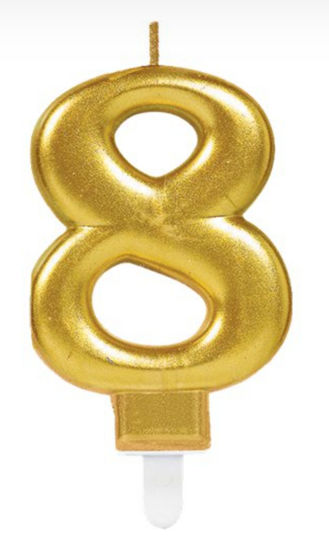 Picture of 8 Birthday gold candle